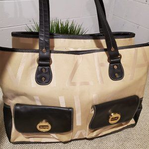 Isaac Mizrahi X Large Beige / Brown with Gold Acce